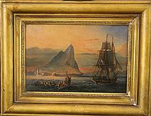Johann Moritz Rugendas (1802-1858)-circle of, Sailing ships and boats in front of the Sugar Head mountain and the Baia de Guanabara, oil on cardboard, framed.