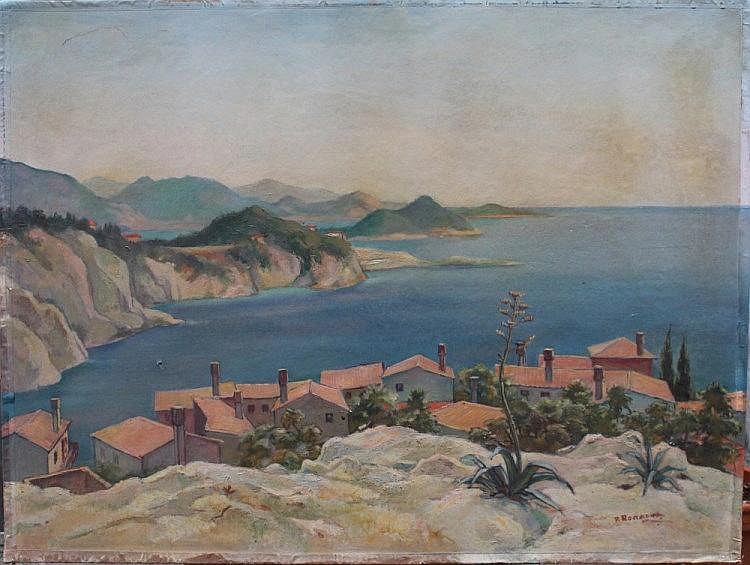Fritz Rocca Humpoletz (1894-1971), Large painting from the Istrian coastline, oil on board, signed b