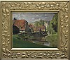 Andre Charigny (1902-2000) Houses by a River, Oil, André-Auguste Charigny, Click for value