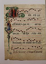 Early illuminated song book page with notes and te