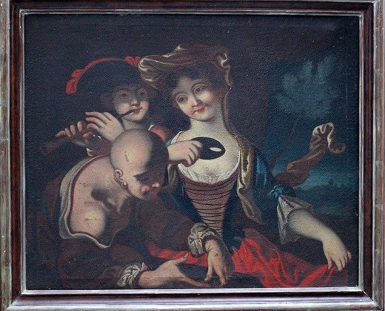 Pietro Bellotti (1625–1700)-school of, A lady with a piper and a servant, o