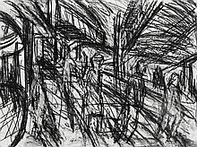 LEON KOSSOFF born 1926, British, OUTSIDE KILBURN UNDERGROUND NO.4, c1979, charcoal on paper