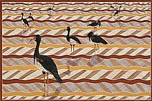LIN ONUS 1948 - 1996, GUMINGI (MAGPIE GEESE), 1987, synthetic polymer paint on canvas