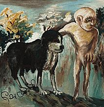 JOHN PERCEVAL 1923 - 2000, SMALL MAN AND BIG DOG, 1943, oil on board