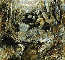 ARTHUR BOYD 1920 - 1999, FIGURE WITH BEAST, c1962-64, glazed ceramic tile