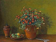 MARGARET OLLEY 1923 - 2011, MARIGOLDS AND PRICKLY PEARS, c1978, oil on composition board