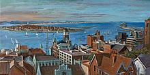 MARGARET OLLEY 1923 - 2011, NEWCASTLE HARBOUR, c1975, oil on composition board