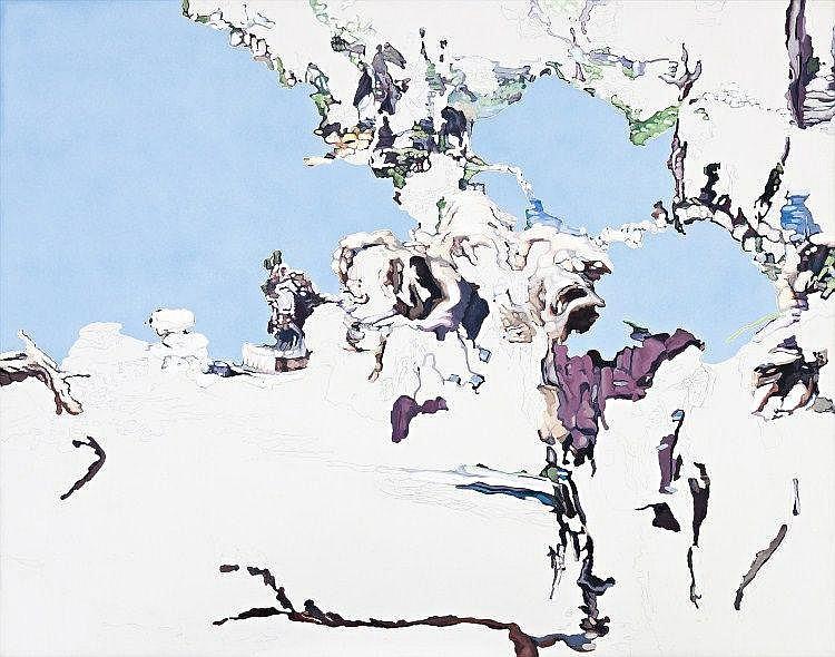 JESS MACNEIL born 1977, PALE PARIS BLUE, 2007, oil, watercolour and graphite on canvas
