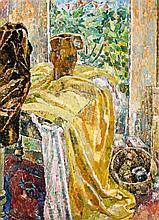 GRACE COSSINGTON SMITH 1892 - 1984, YELLOW DRAPES, 1954, oil on composition board