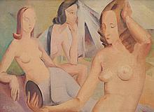 RAH FIZELLE 1891 - 1964, THREE NUDES, c1938, oil on canvas on board