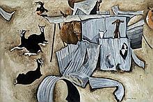 WILLIAM ROBINSON born 1936, FARMYARD, 1982, oil on canvas