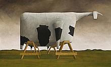 JOHN KELLY born 1965, 1/2 PAINTED COW ON TRESTLES, 1994, oil on linen