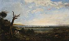J.S. CALDER active 1860s, PORT PHILLIP BAY, FROM THE SOUTH WEST CORNER OF ROYAL PARK ACROSS BATMAN'S SWAMP (WEST MELBOURNE SWAMP) TO PORT MELBOURNE WITH WILLIAMSTOWN TRAIN CROSSING, c1860s, oil on canvas