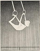 JOHN BRACK 1920 - 1999, STUDY FOR ON THE RINGS, 1975, conté on paper
