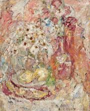 KATE O'CONNOR, (1876 – 1968, New Zealand/Australian), AN IMPRESSION OF A TABLE IN MY HOME IN NICE, 1947, oil on board
