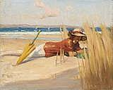 CHARLES WHEELER GIRL ON A BEACH 29.0 x 37.0 cm oil