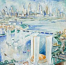 ADRIAAN LUBBERS, (1892 - 1954, Dutch), OPENING OF THE WORLD FAIR CHICAGO, 1934, oil on canvas
