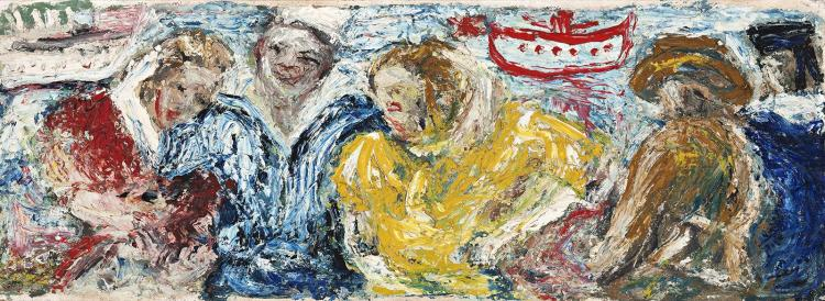 DANILA VASSILIEFF, (1897 - 1958), YANKEE WITH GIRLS, AUSSIES WITHOUT, 1942, oil on muslin on board