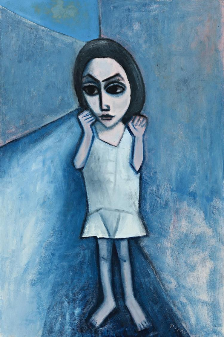 ROBERT DICKERSON , (1924 - 2015), GIRL IN A LANE, c.1962 , oil on composition board