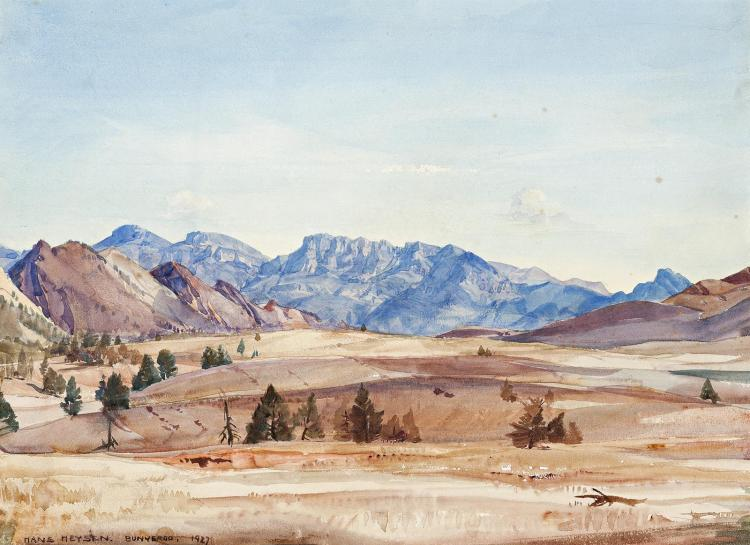HANS HEYSEN, (1877 - 1968), BUNYEROO, 1927, watercolour on paper