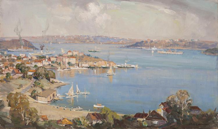 JAMES JACKSON, (1882 - 1975), SYDNEY HARBOUR, oil on canvas on board