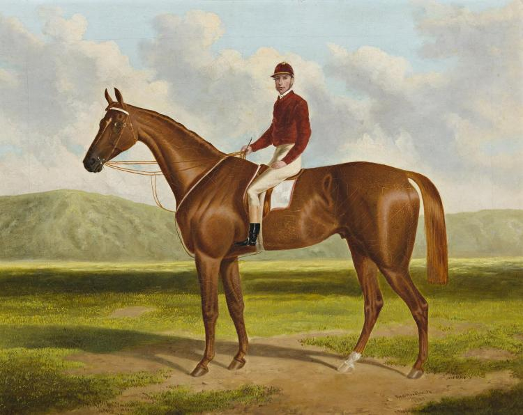 FREDERICK WOODHOUSE SNR, (1820 - 1909), FALCON: WINNER OF THE 1864 ADELAIDE CUP, 1865, oil on canvas on board