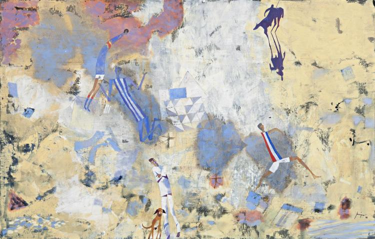 ROBERT JUNIPER, (1929 - 2012), POET AND HIS DOG, 1988, oil and synthetic polymer paint on linen
