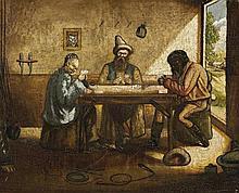 Joseph Johnson 1848 - 1904, EUCHRE IN THE BUSH, c1870s oil on canvas on board