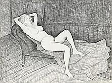 John Brack 1920 - 1999, STUDY FOR 'THE MERTZ NUDE', 1965 conté on paper
