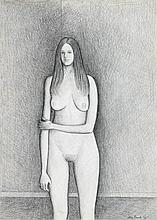 John Brack 1920 - 1999, STUDY FOR 'STANDING NUDE', 1970 conté on paper