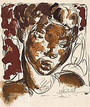 Ian Fairweather 1891 - 1974, SKETCH HEAD, 1941 gouache and pencil on paper on board