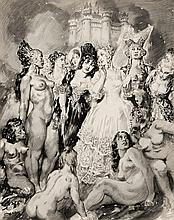 Norman Lindsay 1879 - 1969, THE CHALLENGE, watercolour and graphite on paper