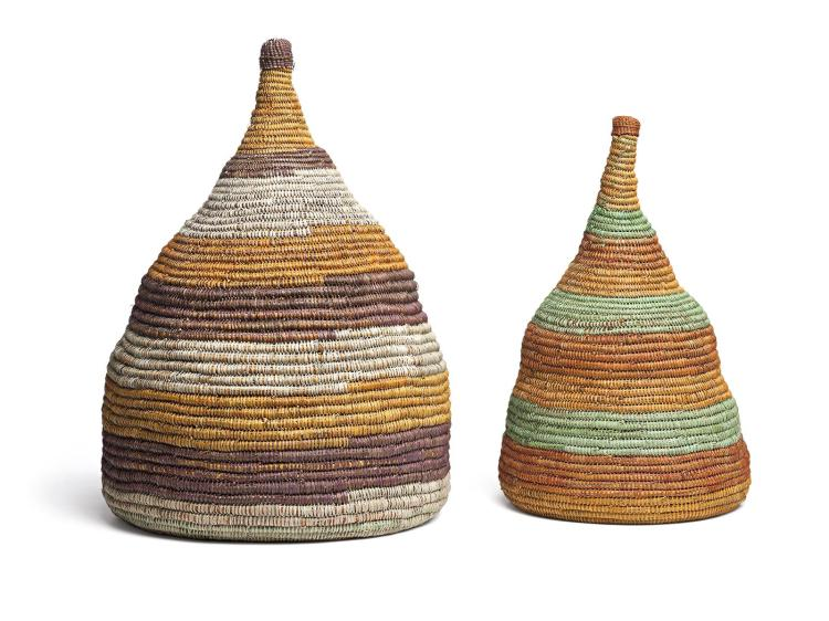 ROBYN DJUNGINY, born 1947, A PAIR OF BOTTLES, 2013, natural pigments on woven pandanus fibre