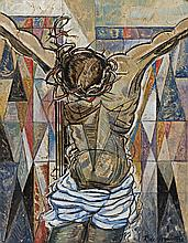 ROY DE MAISTRE, (1894 - 1968) , CRUCIFIXION, c. 1958, oil on gold leaf on board