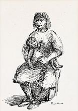 RUSSELL DRYSDALE, (1912 - 1981), MOTHER AND CHILD, pen and ink on paper