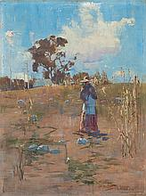 SYDNEY LONG, (1871 - 1955), THE PUMPKIN PATCH, 1895, oil on wood panel