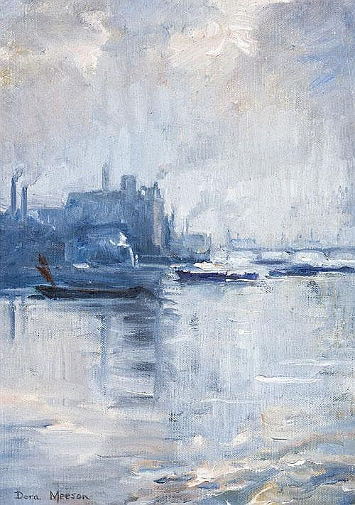DORA MEESON The Thames, London oil on canvas on