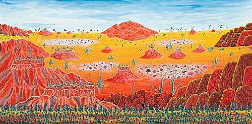 HENRI BASTIN Red Centre Landscape, 1971 oil on