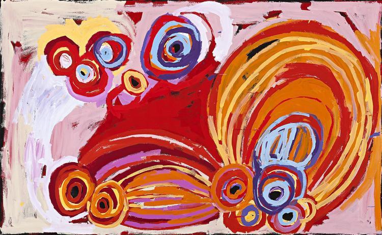 BARBARA MBITJANA MOORE, born 1964, NGAYUKU NGURA [MY COUNTRY], 2013, synthetic polymer paint on linen