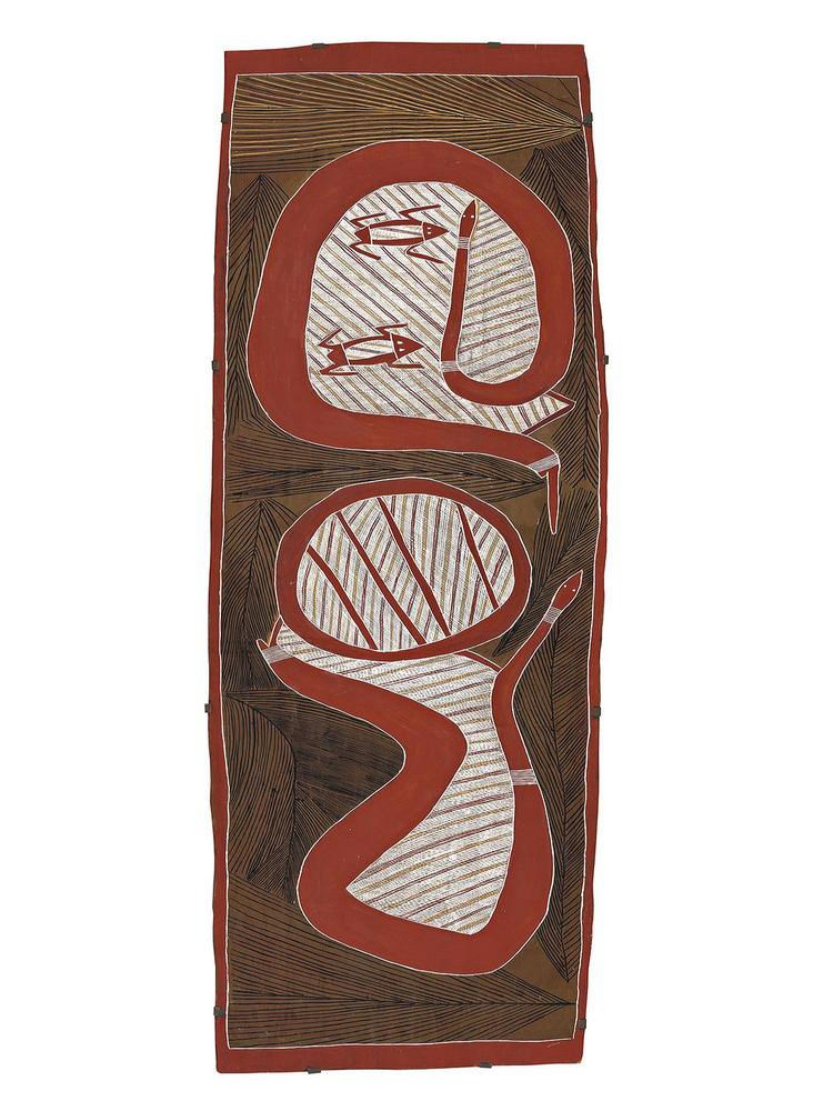 PHILIP GUDTHAYKUDTHAY, born c.1925, WITITJ GA GARRKMAN – OLIVE PYTHON AND FROGS, 2003, natural earth pigments on eucalyptus bark