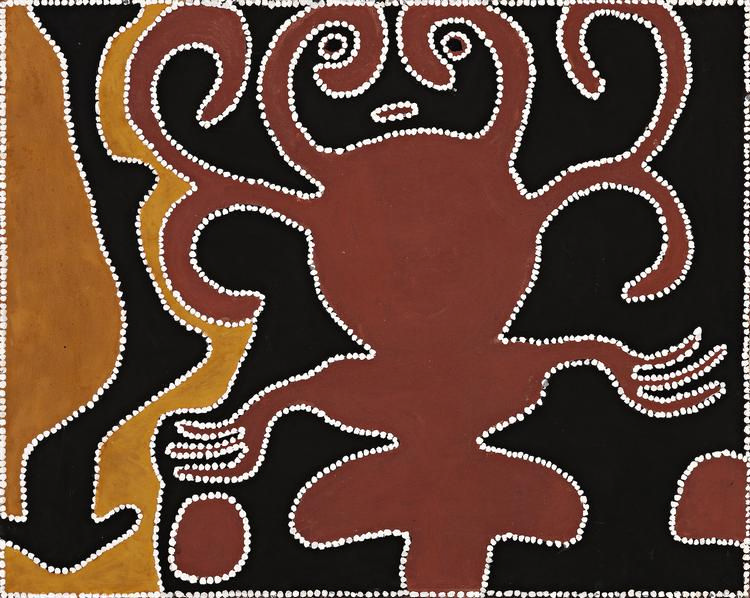 GEORGE MUNG MUNG, (c.1921 – 1991), WUDALWUDAL (THE DREAMTIME WOMAN), 1990, natural earth pigments and synthetic binder on canvas