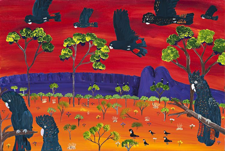KUKULA MCDONALD, born 1985, RED TAIL COCKATOOS AT UTTUMPATU, 2013, synthetic polymer paint on canvas