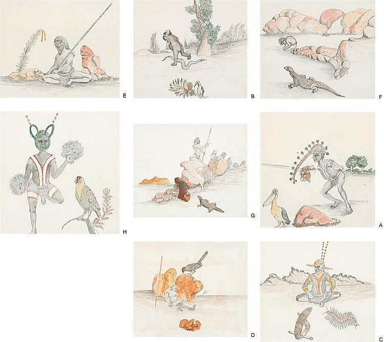 BUTCHER JOE NANGAN, c.1910 – 1989, A SUITE OF EIGHT DRAWINGS, 1981, pencil and watercolour on paper