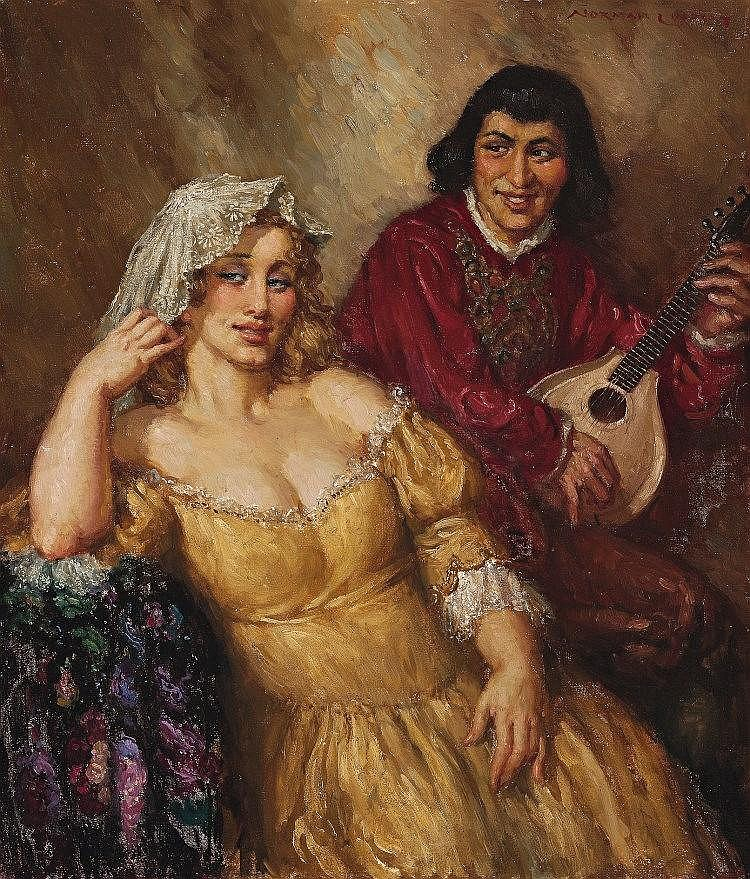 NORMAN LINDSAY, 1879 – 1969, LADY AND TROUBADOUR, c.1937, oi