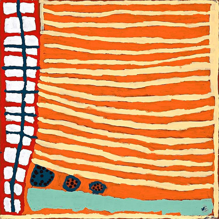 MARGARET BARAGURRA, born c1935, JIRNDAJIRI, 2003, synthetic polymer paint on linen