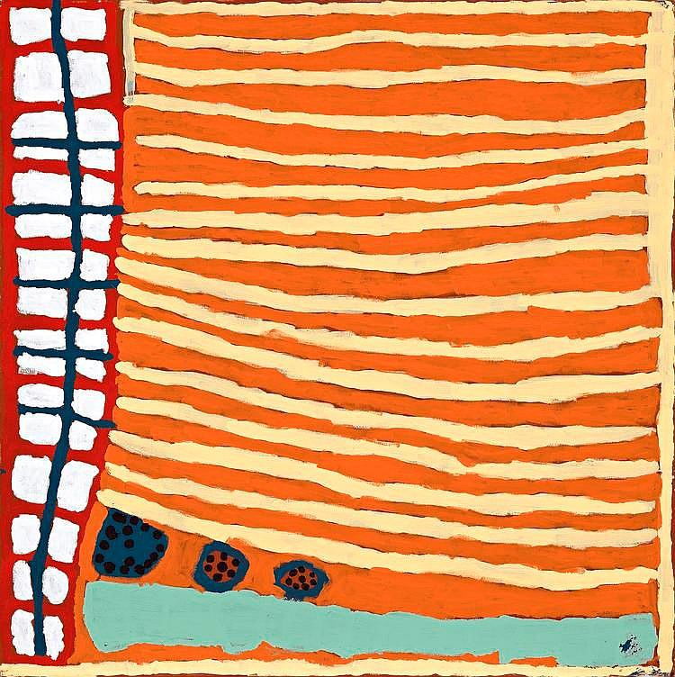 MARGARET BARAGURRA, born c1935, JIRNDAJIRI, 2003, synthetic polymer paint on linen