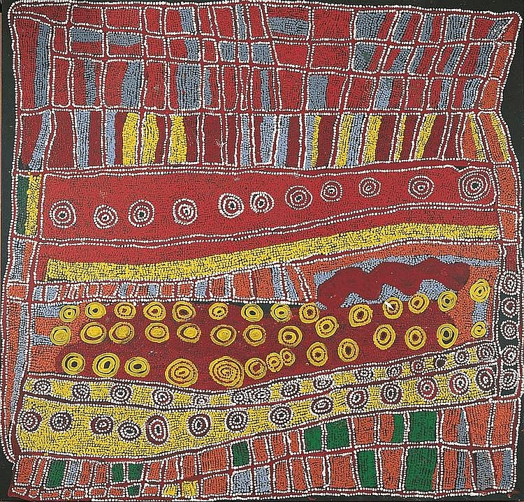 NYAKUL KUNMANARA DAWSON, (c1935 - 2007), PAPA MARA, 2004, synthetic polymer paint on linen