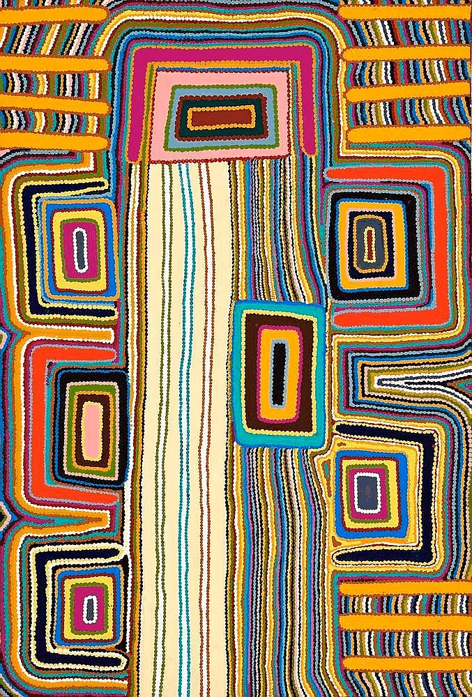 JOHN LEE TJAKAMARRA, born 1949, WALAWALA, 2002, synthetic polymer paint on canvas