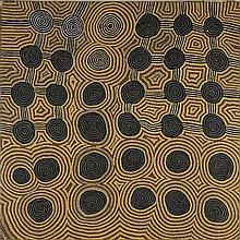 GEORGE TJAPANANGKA, born 1938, TINGARI TRAVELLING FROM KIWIRRKURA TO PINARI, NORTH OF LAKE MACKAY, 1988, synthetic polymer paint on linen