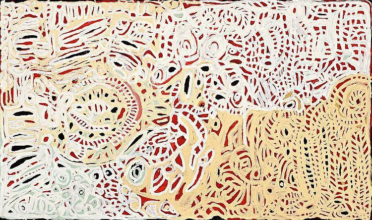 DICKIE MINYINTIRI, born c1915, KAPI TJUKULA (WATERHOLES), 2010, synthetic polymer paint on linen